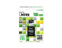 Mirex microSDHC Class 10 16GB + SD adapter (13613-AD10SD16)